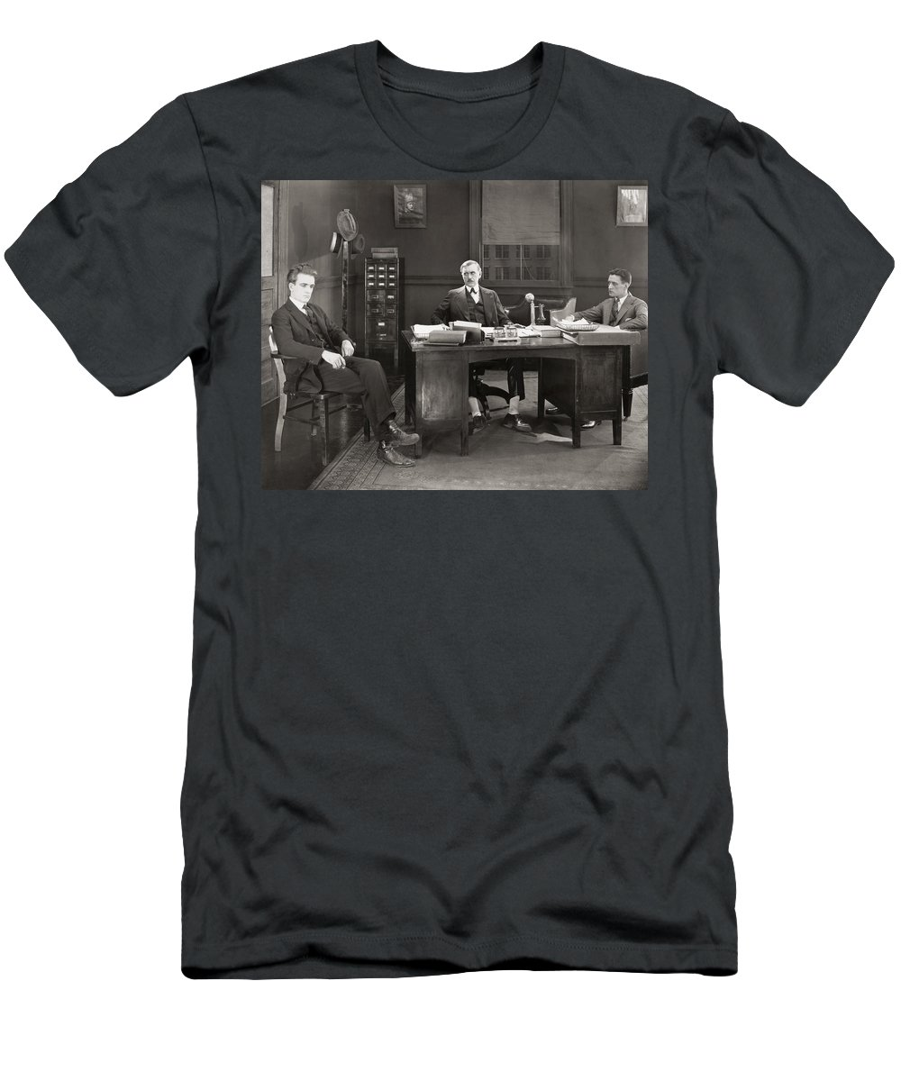 -offices- Men's T-Shirt (Athletic Fit) featuring the photograph Silent Film Still: Offices by Granger