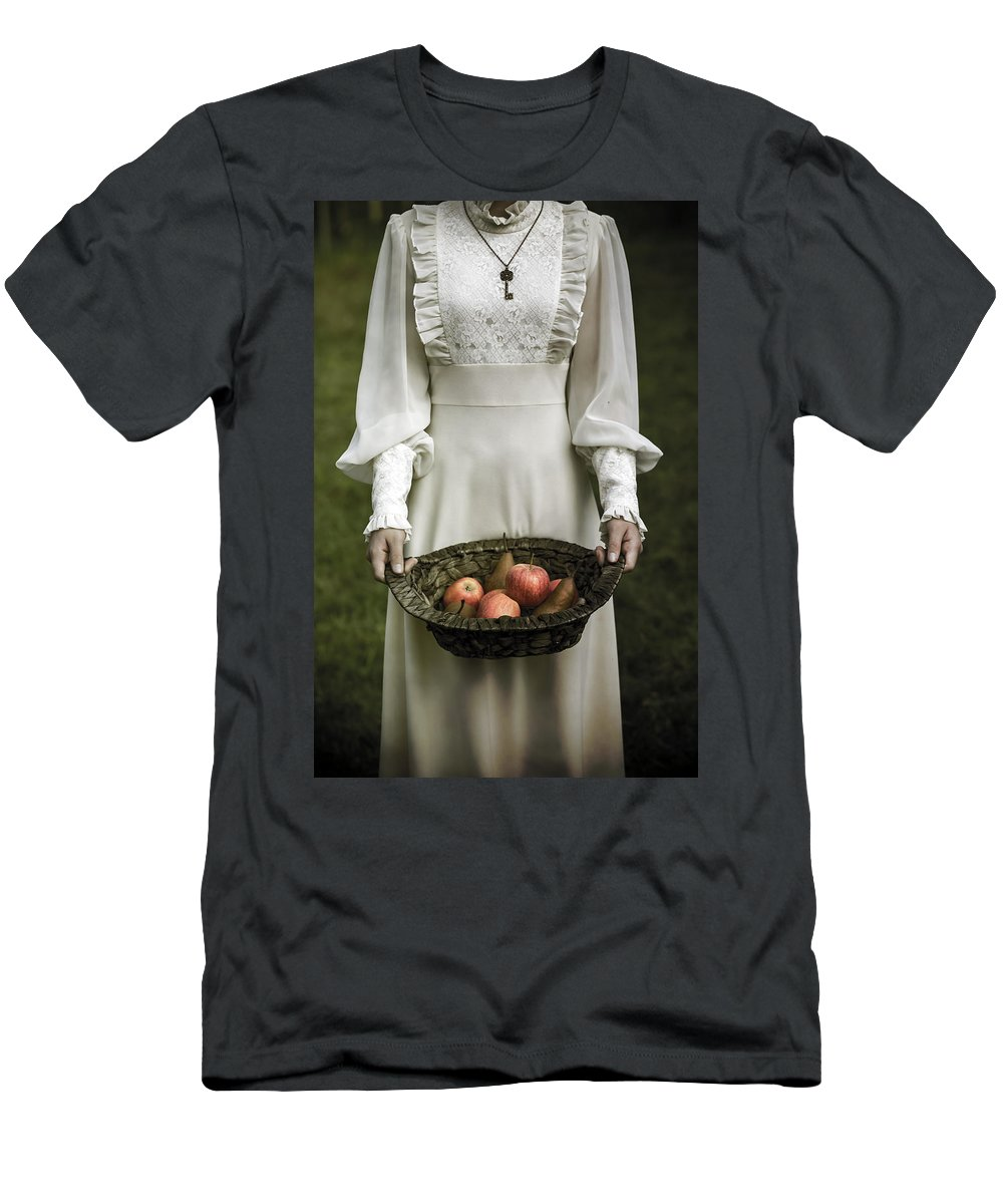 Woman Men's T-Shirt (Athletic Fit) featuring the photograph Basket With Fruits by Joana Kruse