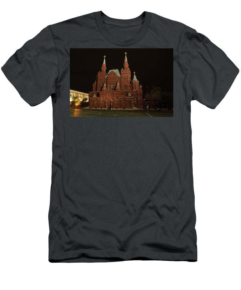 Kremlin Men's T-Shirt (Athletic Fit) featuring the photograph Red Square In Moscow At Night by Michael Goyberg