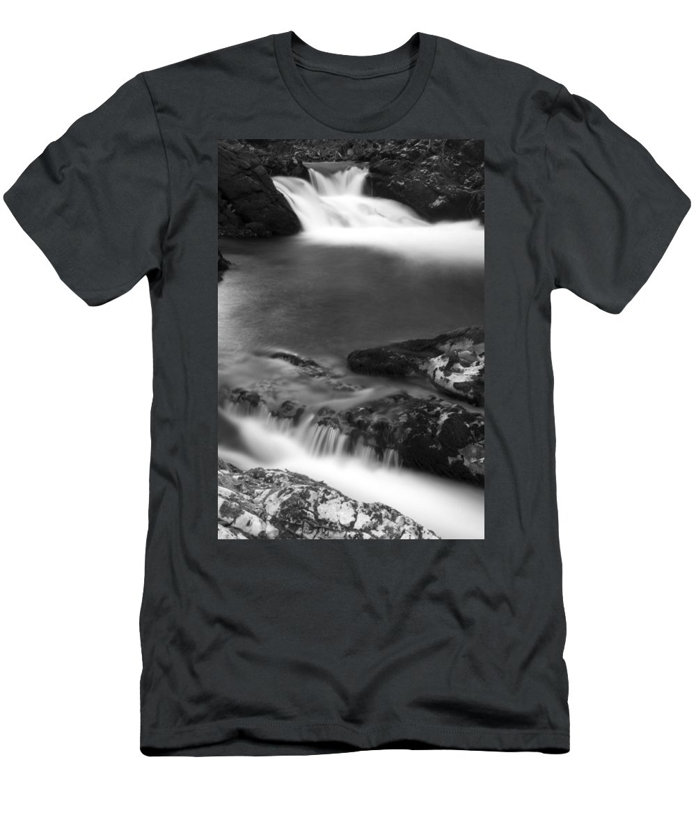 Soteska Men's T-Shirt (Athletic Fit) featuring the photograph The Soteska Vintgar Gorge In Black And White by Ian Middleton