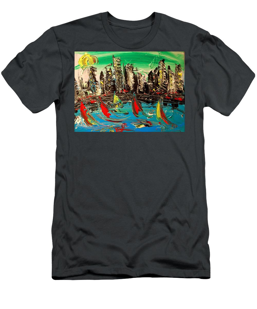 Men's T-Shirt (Athletic Fit) featuring the mixed media City by Mark Kazav