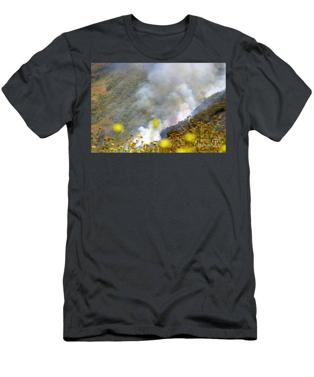 Ash Men's T-Shirt (Athletic Fit) featuring the photograph Barnett Fire by Henrik Lehnerer