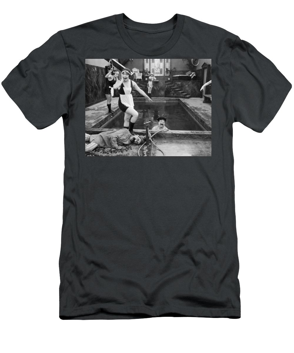 -bathing: Women's Suit & Pool- Men's T-Shirt (Athletic Fit) featuring the photograph Silent Still: Bathers by Granger