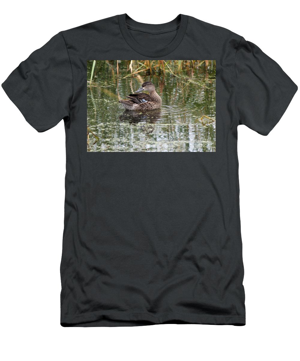 Teal Men's T-Shirt (Athletic Fit) featuring the photograph Teal Duck by Lori Tordsen