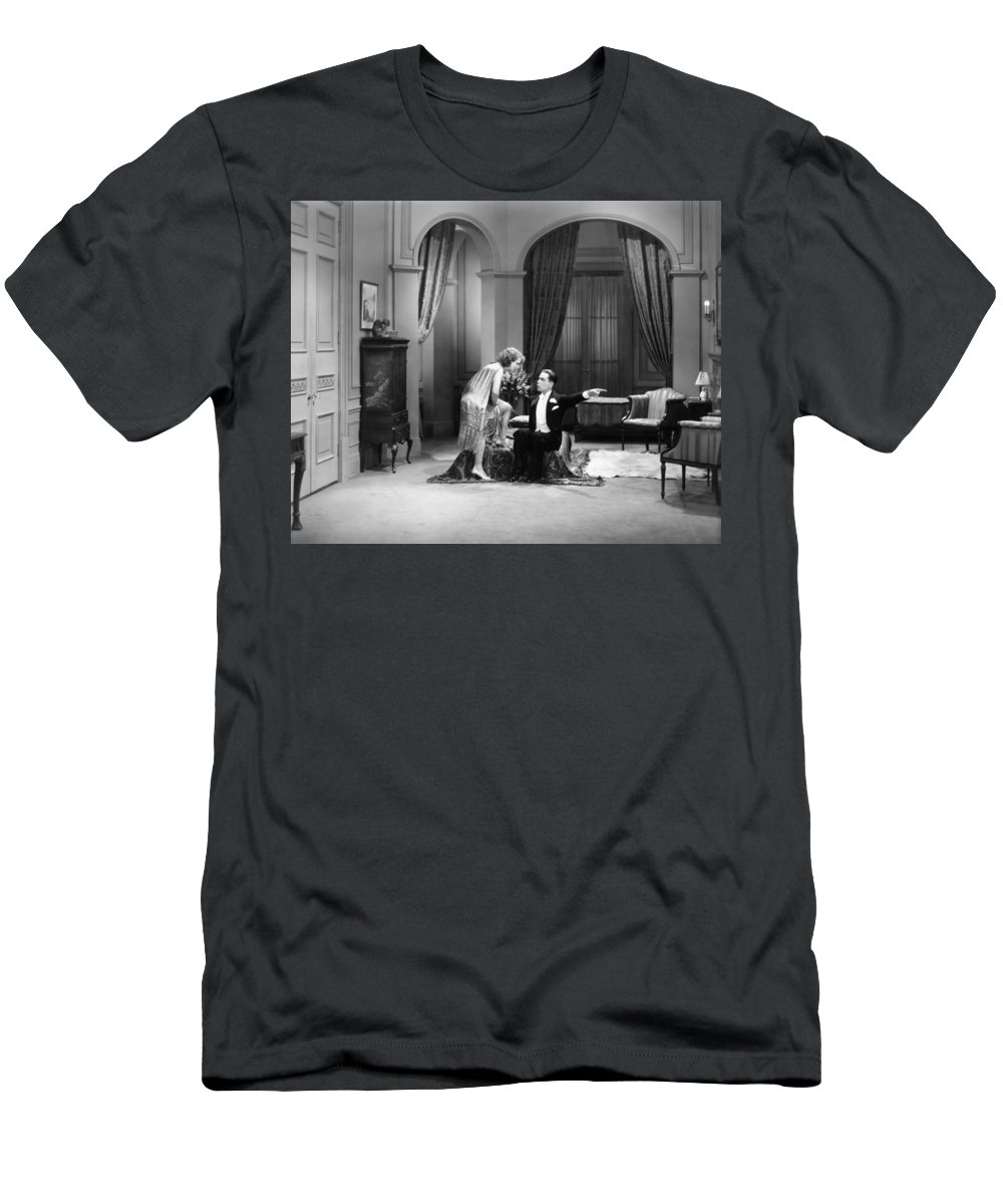-ecq- Men's T-Shirt (Athletic Fit) featuring the photograph Silent Still: Man & Woman by Granger