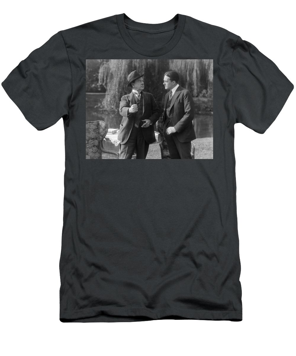 -ecq- Men's T-Shirt (Athletic Fit) featuring the photograph Silent Still: Two Men by Granger