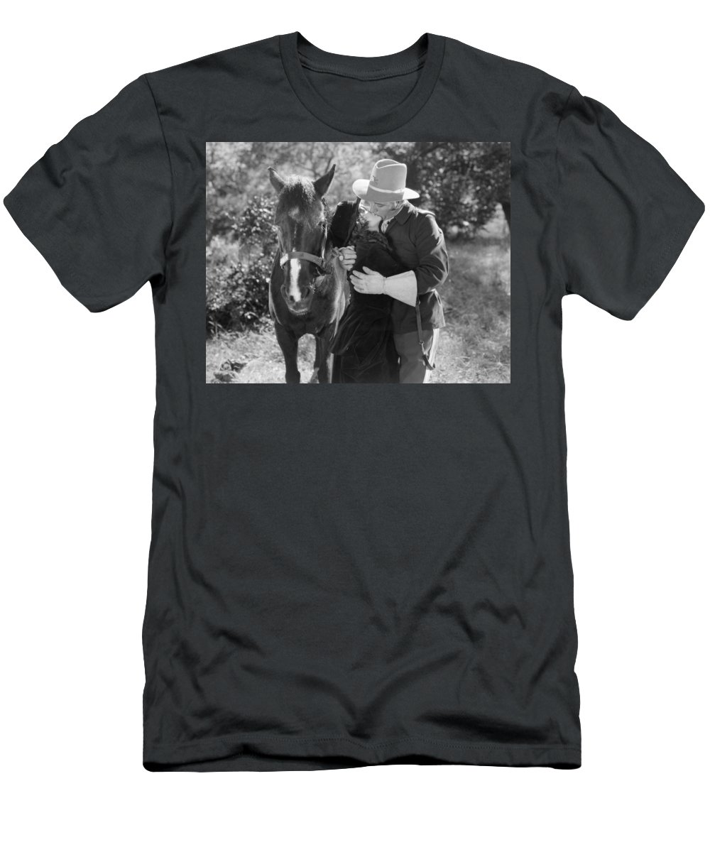 -kissing- Men's T-Shirt (Athletic Fit) featuring the photograph Silent Film Still by Granger
