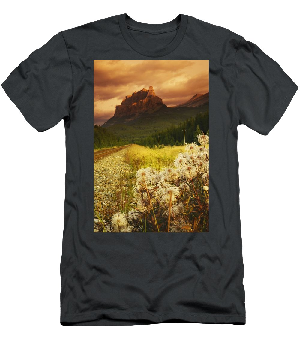 Banff Men's T-Shirt (Athletic Fit) featuring the photograph A Country Road With A Mountain In The by Kelly Redinger