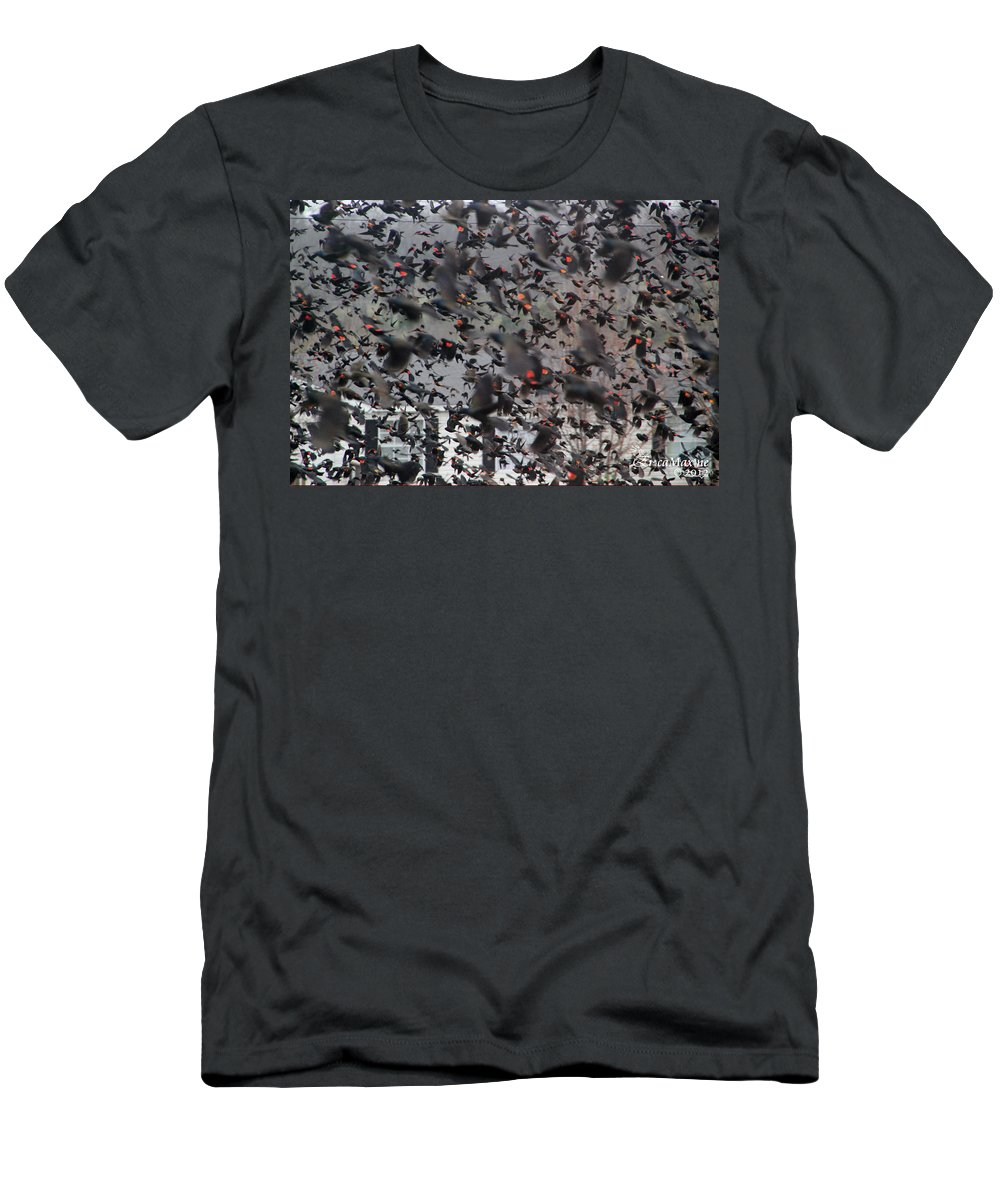Sooc Men's T-Shirt (Athletic Fit) featuring the photograph A Mob Of Red-winged Blackbirds by Ericamaxine Price