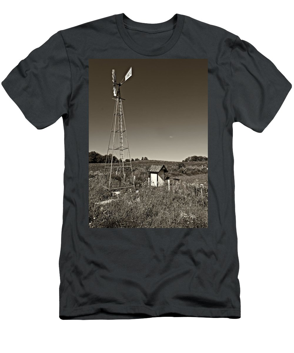 Grey Roots Museum & Archives Men's T-Shirt (Athletic Fit) featuring the photograph A Moving Memory Monochrome by Steve Harrington