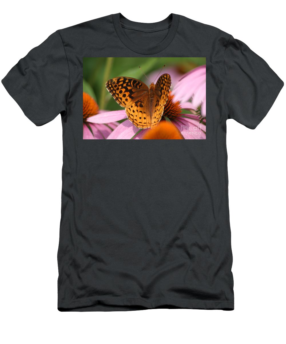 Butterfly Men's T-Shirt (Athletic Fit) featuring the photograph A Pretty Flying Flower by Living Color Photography Lorraine Lynch
