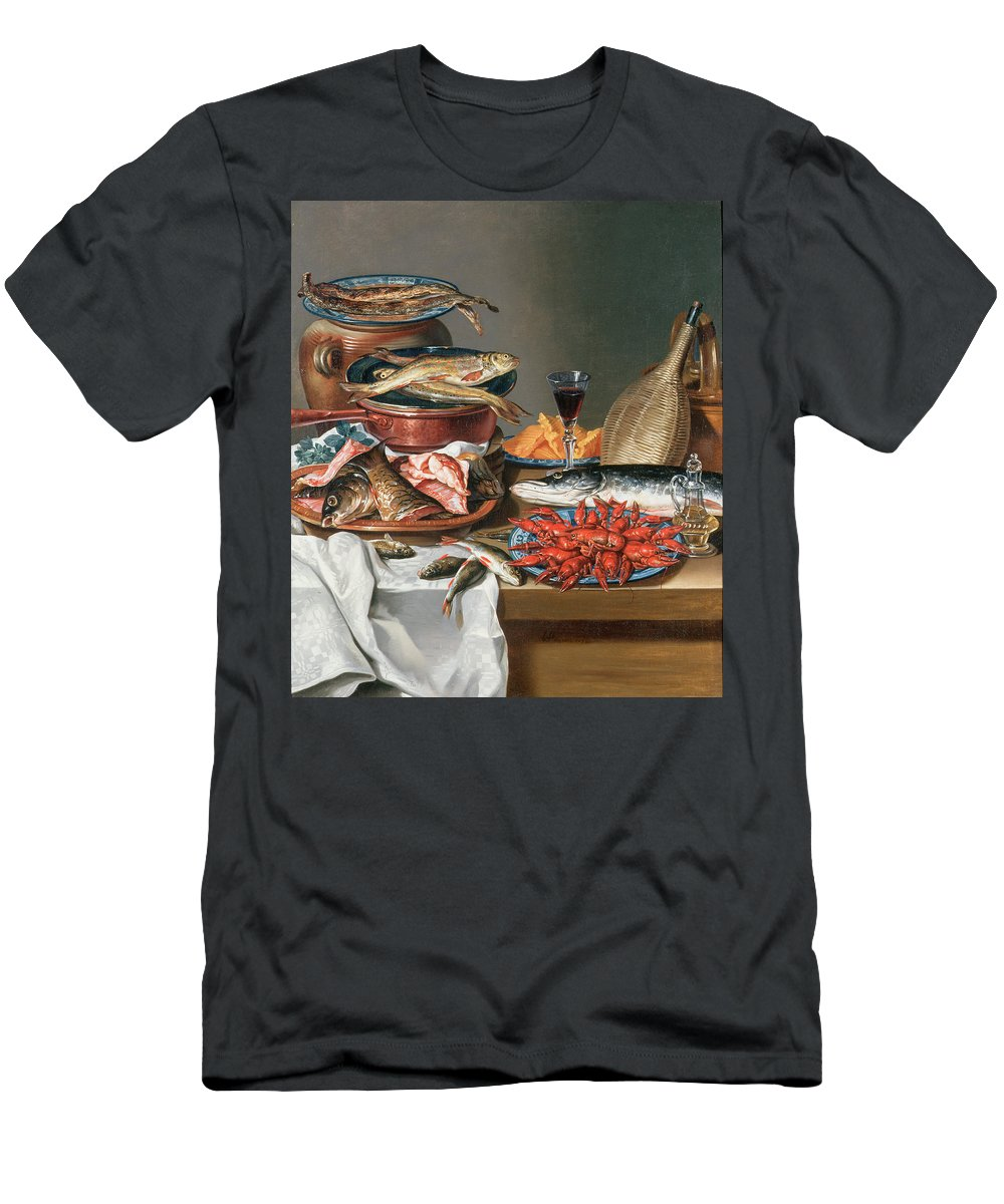 Olive Oil; Tablecloth; Herrings; Plate; Salmon; Filleted Men's T-Shirt (Athletic Fit) featuring the painting A Still Life Of A Fish Trout And Baby Lobsters by Anton Friedrich Harms