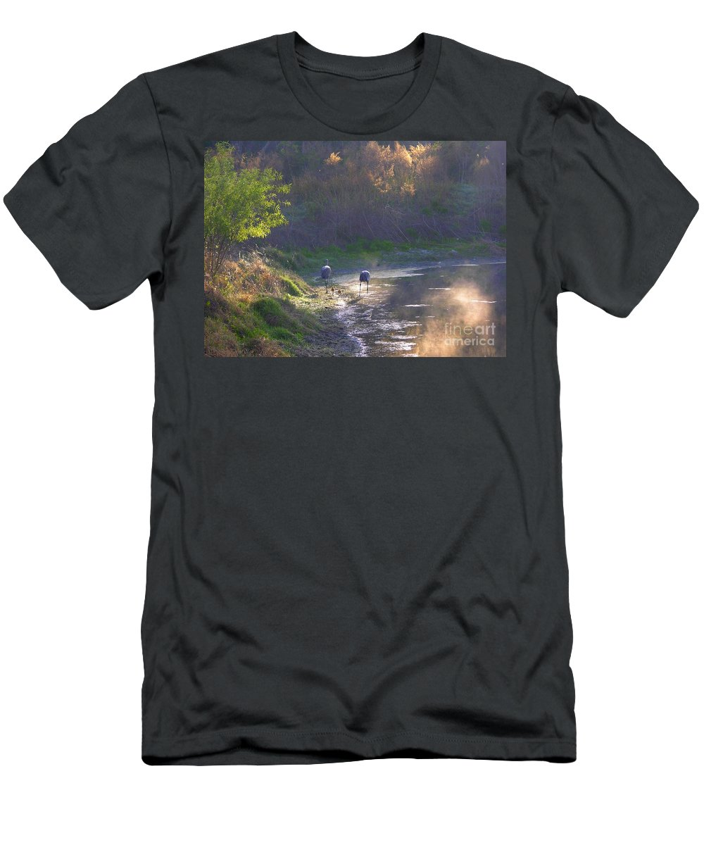 Sandhill Cranes Men's T-Shirt (Athletic Fit) featuring the photograph A Walk Through Morning Sunshine by Carol Groenen