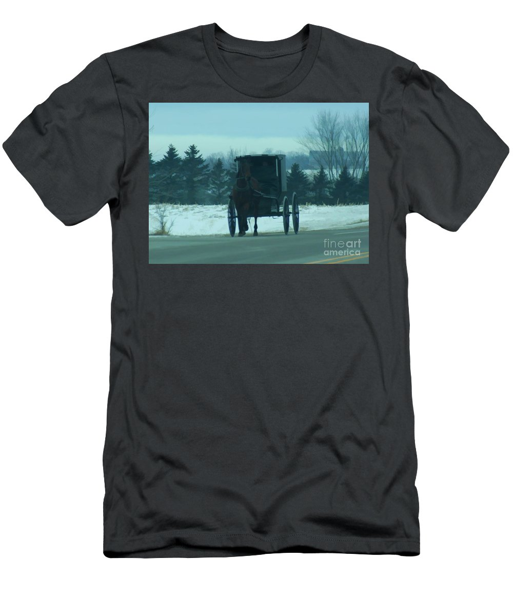 Amish Men's T-Shirt (Athletic Fit) featuring the digital art A Winters Day by Tommy Anderson