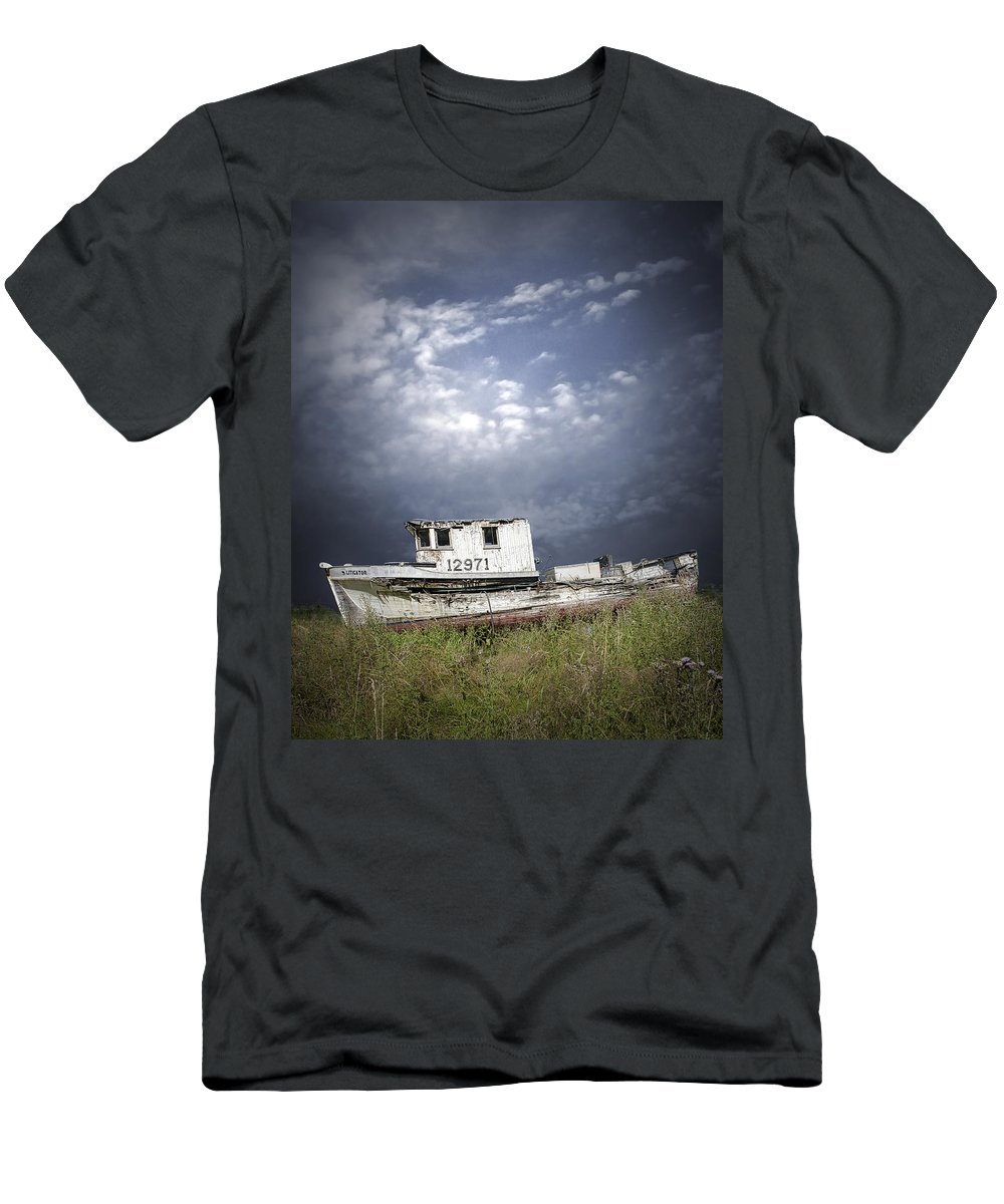Art Men's T-Shirt (Athletic Fit) featuring the photograph Abandoned Fishing Boat In Washington State by Randall Nyhof