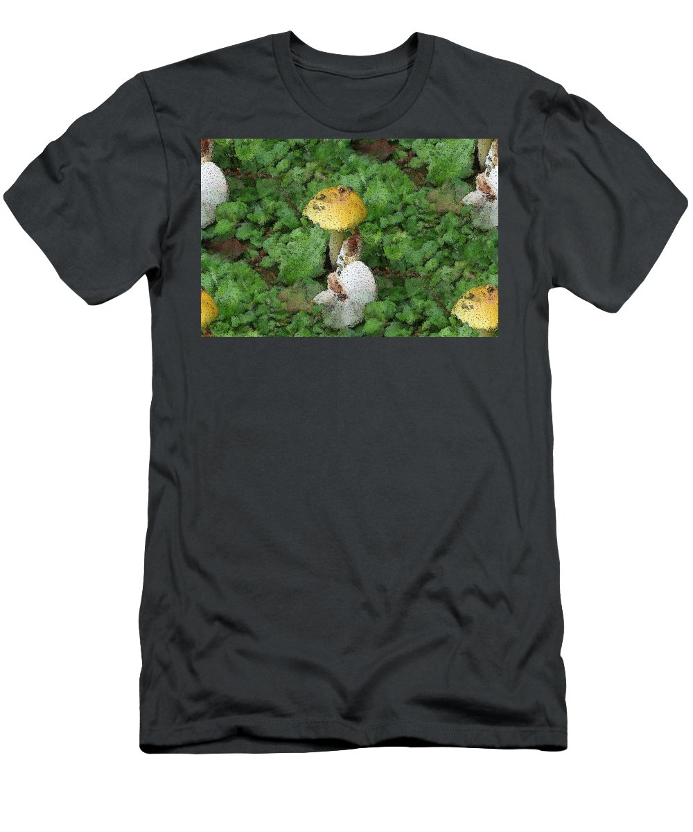 Abstract Men's T-Shirt (Athletic Fit) featuring the photograph Abstract Mushrooms by Barbara S Nickerson