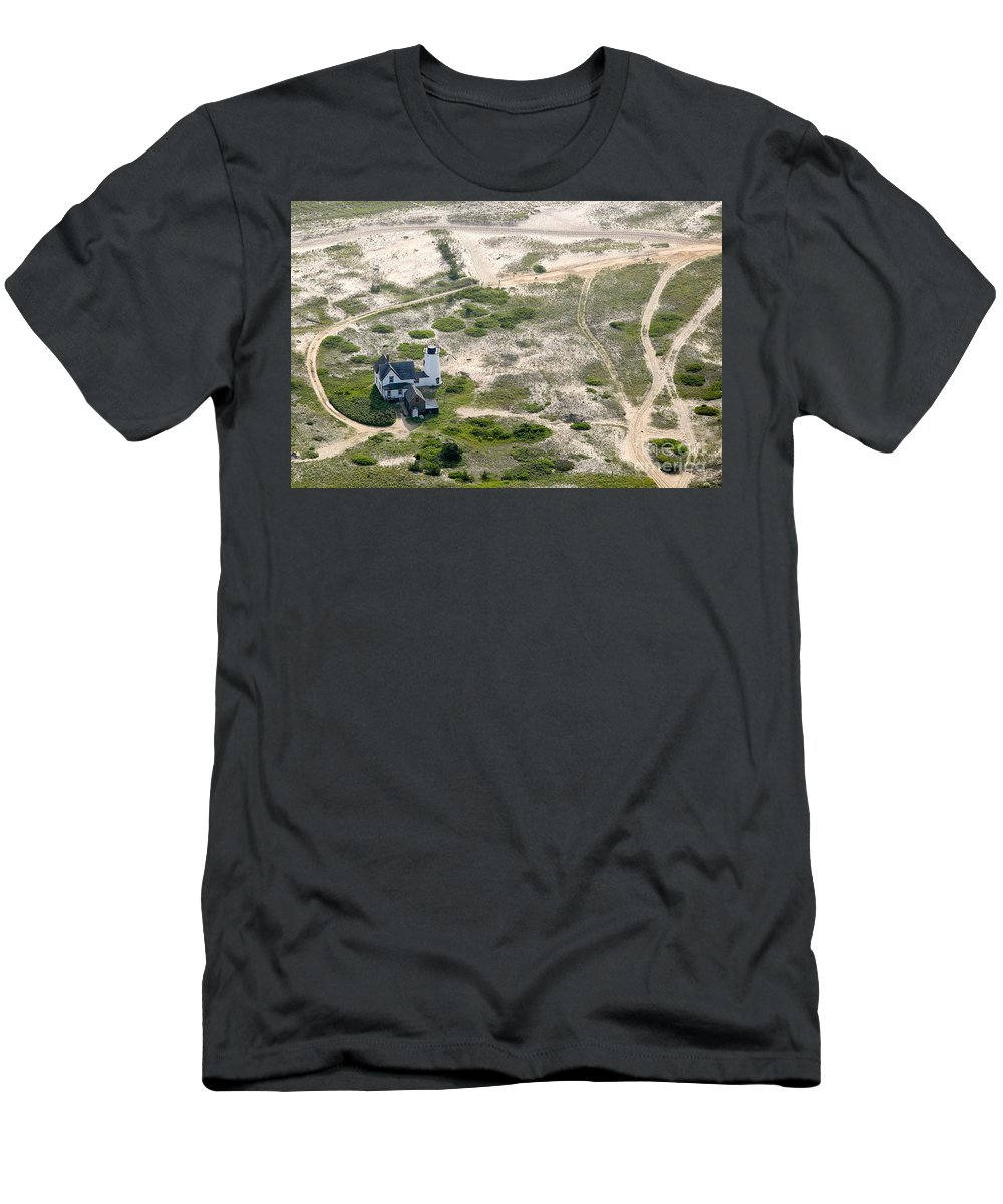 Aerials Men's T-Shirt (Athletic Fit) featuring the photograph Aerial View Of Stage Harbor Light In Chatham On Cape Cod Massac by Matt Suess