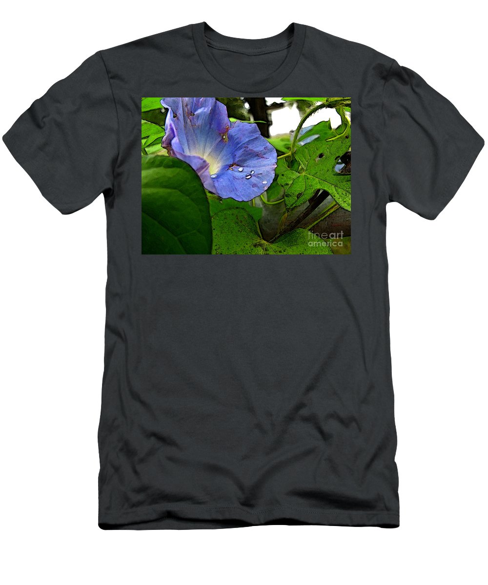 Botanical Men's T-Shirt (Athletic Fit) featuring the digital art Aging Morning Glory by Debbie Portwood