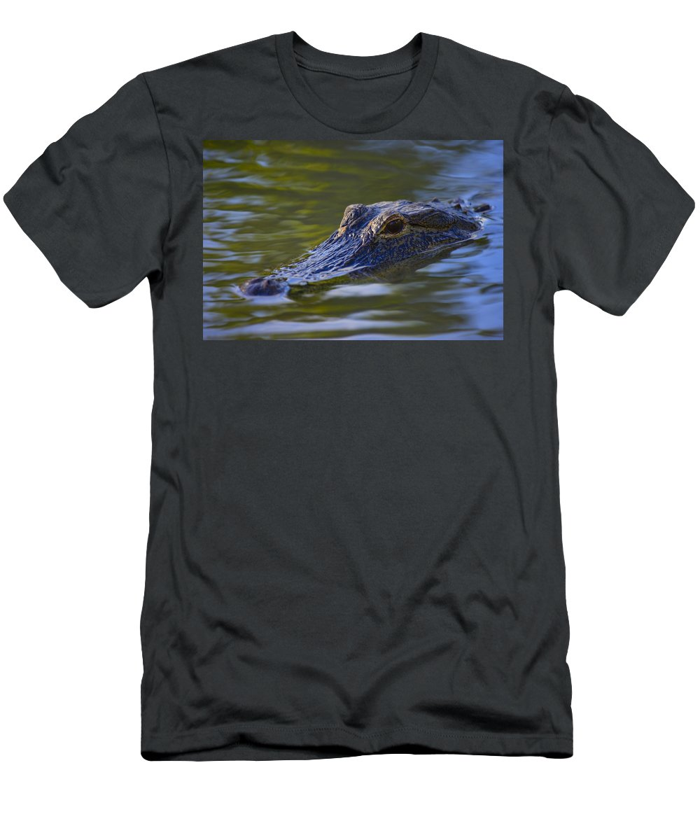 Horizontal Men's T-Shirt (Athletic Fit) featuring the photograph Alligator by Don Hammond