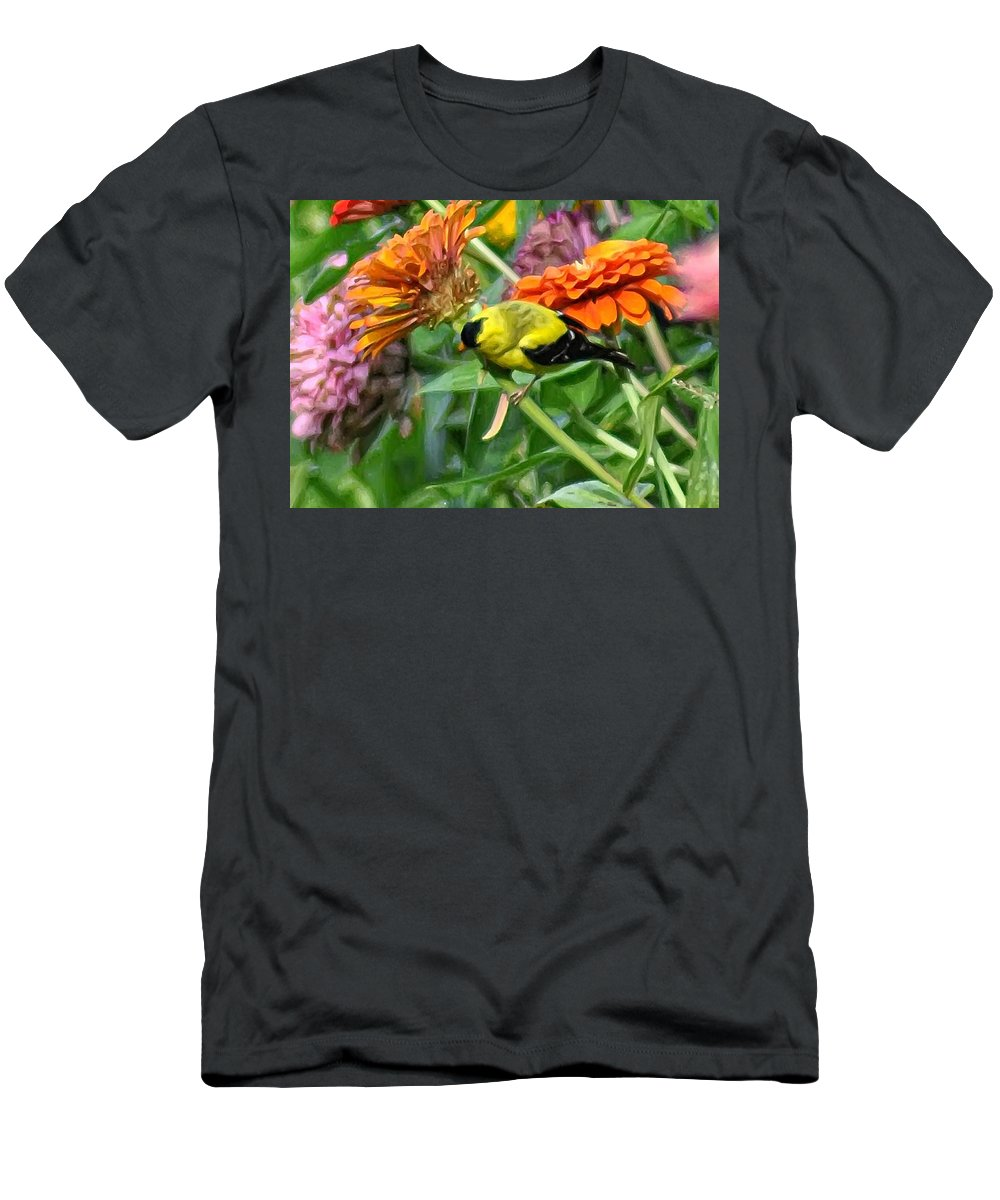 American Goldfinch Men's T-Shirt (Athletic Fit) featuring the photograph American Goldfinch by Bill Cannon