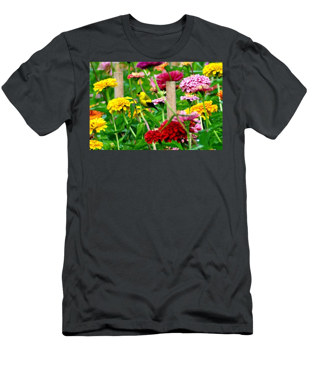 American Men's T-Shirt (Athletic Fit) featuring the photograph American Goldfinch In The Garden by Bill Cannon