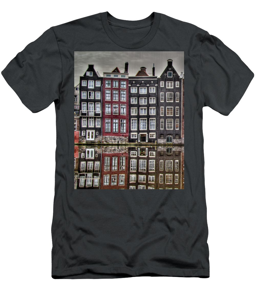 Amsterdam Men's T-Shirt (Athletic Fit) featuring the photograph Amsterdam Reflections Hdr by Bill Lindsay