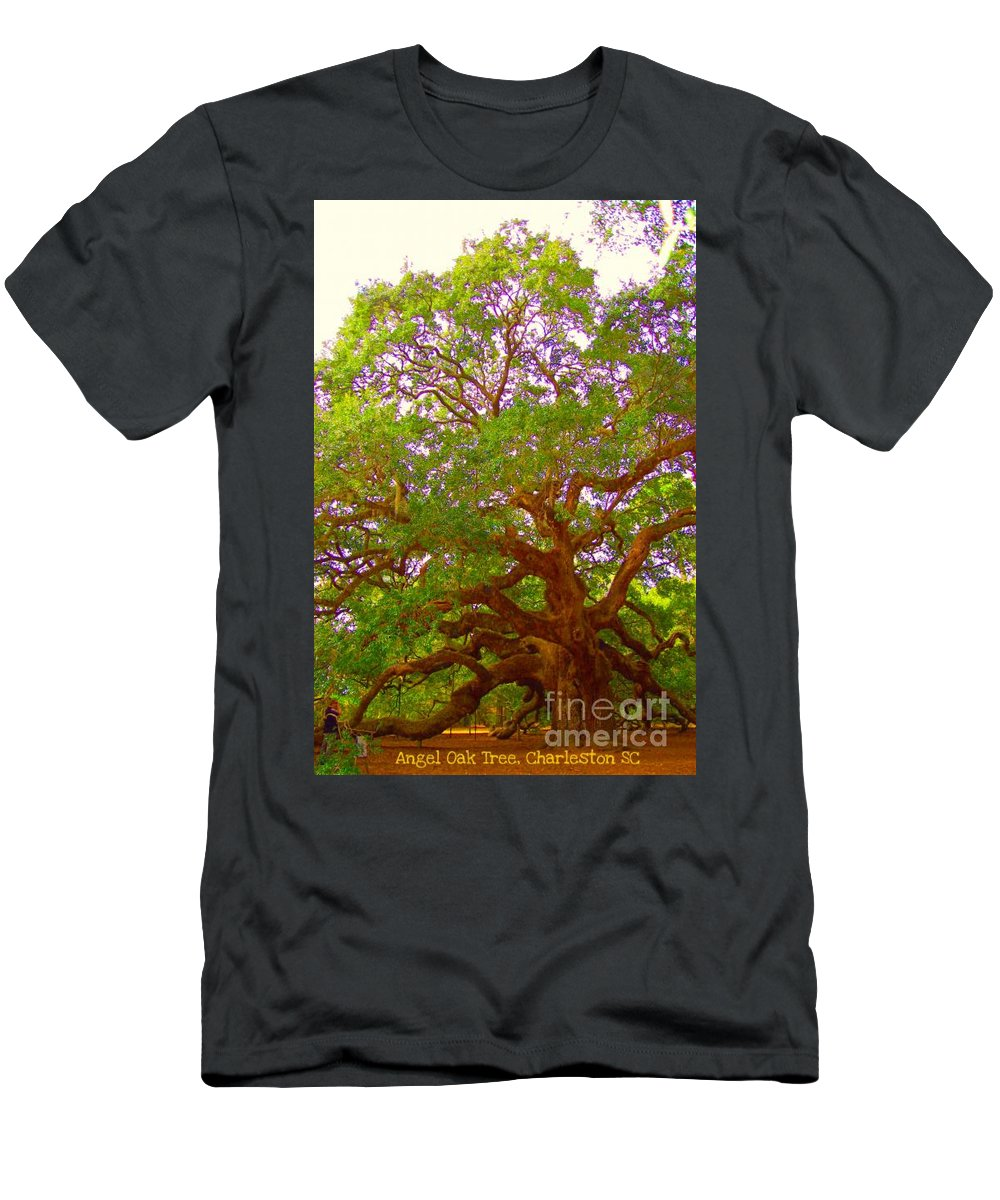 Angel Oak Tree Men's T-Shirt (Athletic Fit) featuring the photograph Angel Oak Tree1 by Donna Bentley
