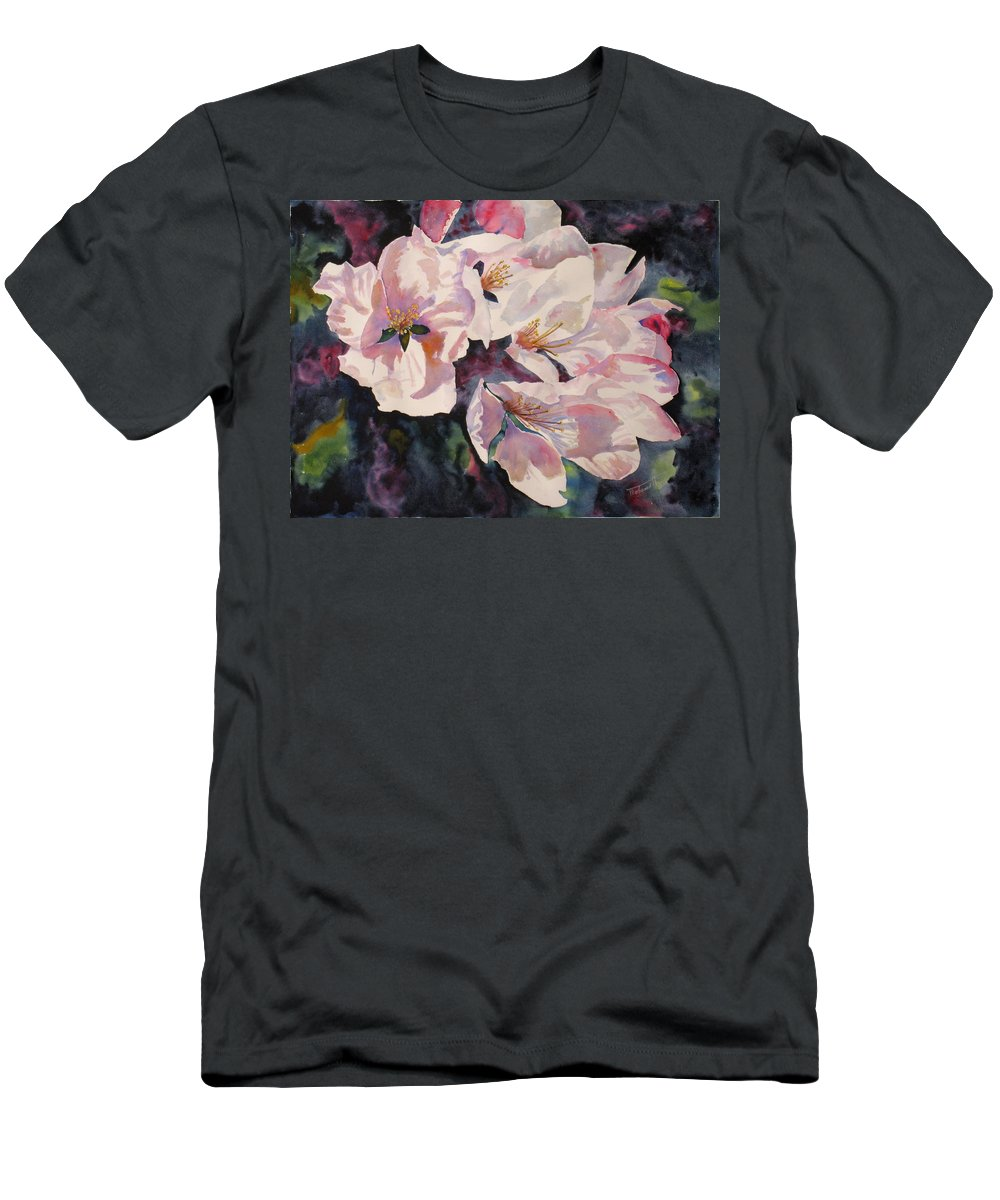 Flowers Men's T-Shirt (Athletic Fit) featuring the painting Apple Blossoms by Mohamed Hirji