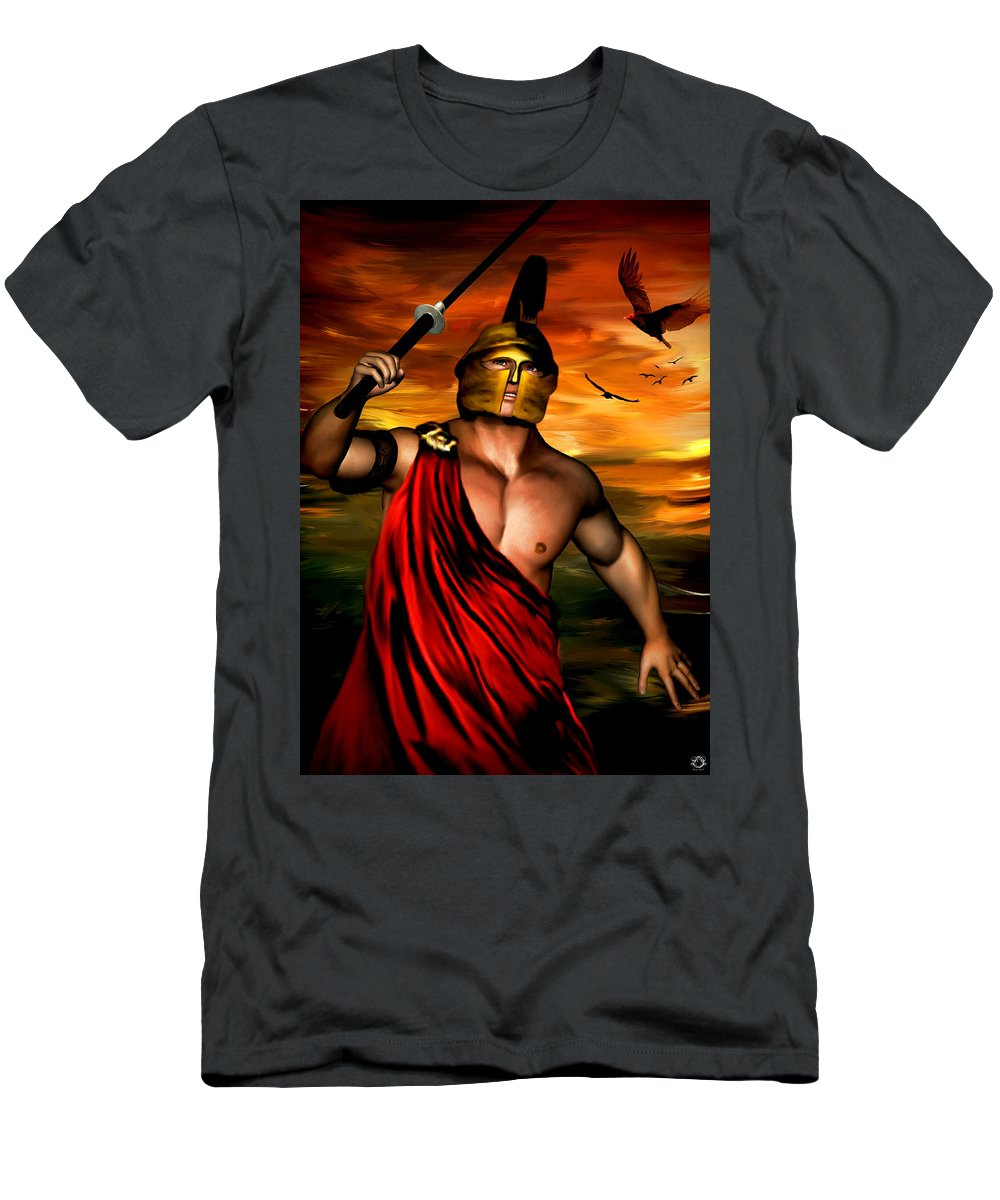 Ares Men's T-Shirt (Athletic Fit) featuring the digital art Ares by Lourry Legarde