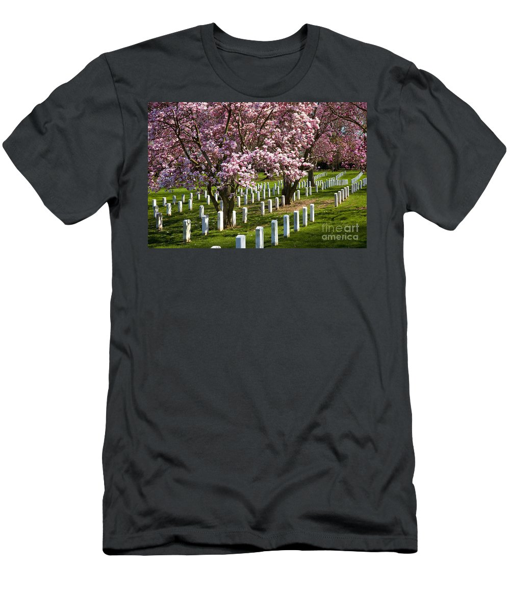 Blossoms Men's T-Shirt (Athletic Fit) featuring the photograph Arlington Cherry Trees by Brian Jannsen