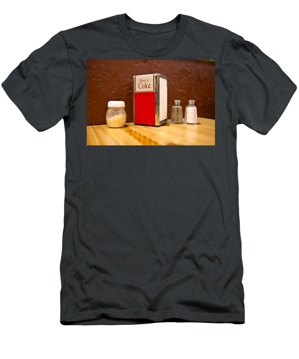 Coke Men's T-Shirt (Athletic Fit) featuring the photograph At The Table by Betsy Knapp