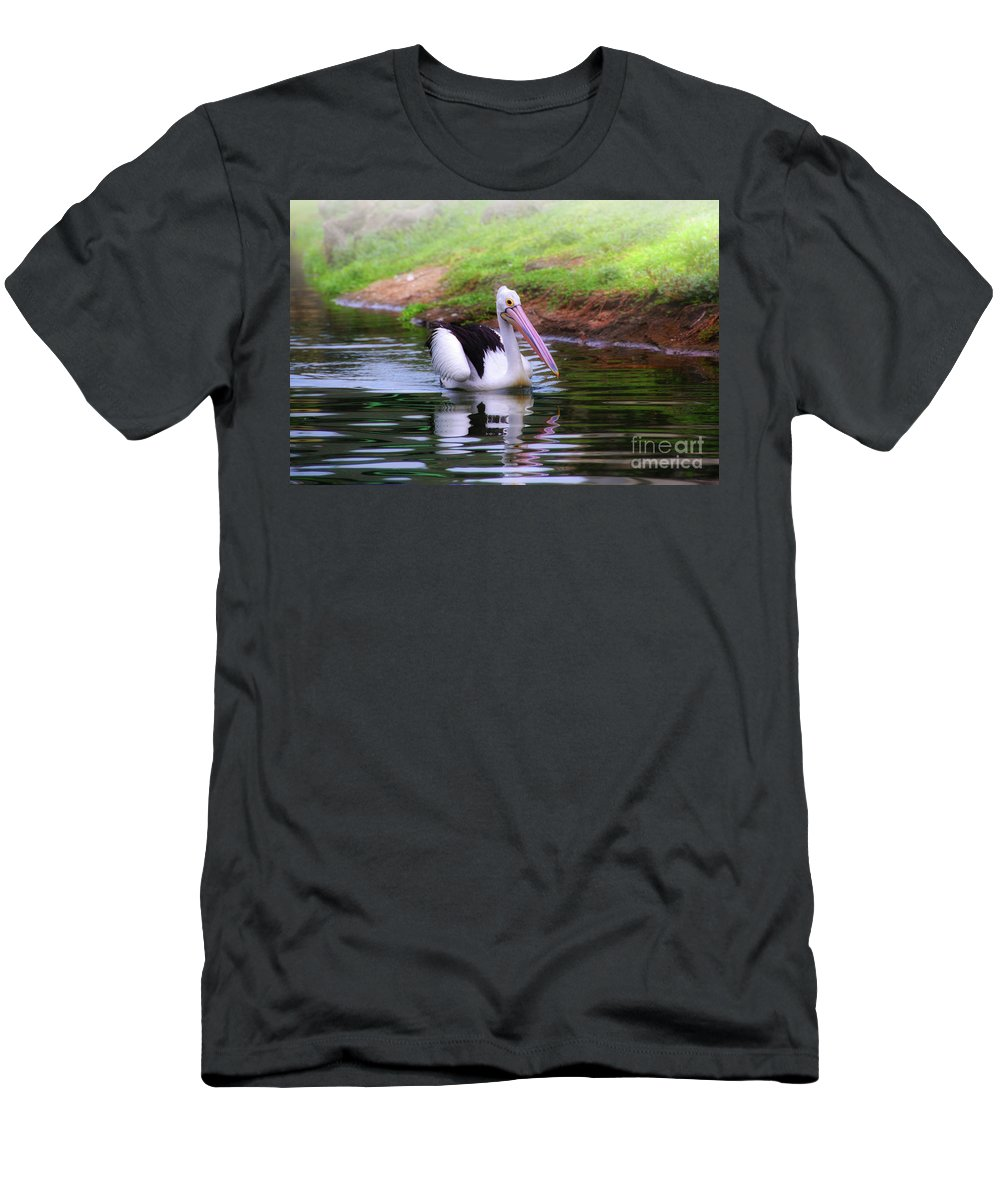 Pelican Men's T-Shirt (Athletic Fit) featuring the photograph Australian Pelican by Charuhas Images