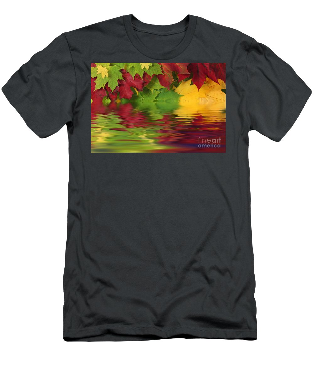 Leaves Men's T-Shirt (Athletic Fit) featuring the photograph Autumn Leaves In Water With Reflection by Simon Bratt Photography LRPS