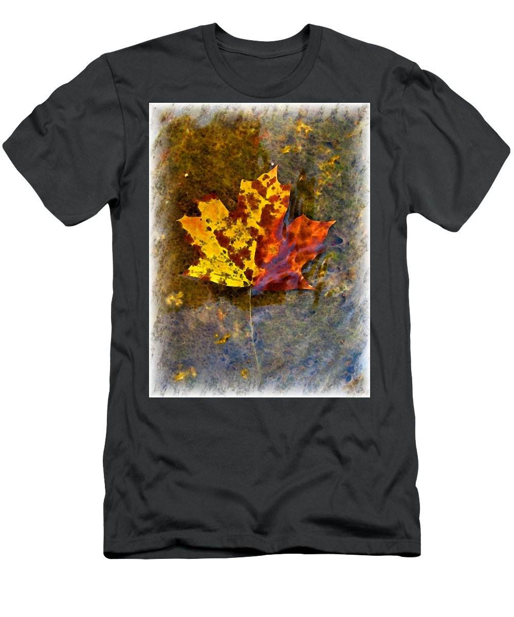 Botanical Men's T-Shirt (Athletic Fit) featuring the digital art Autumn Maple Leaf In Water by Debbie Portwood