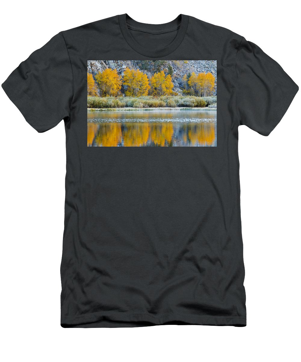 Autumn Men's T-Shirt (Athletic Fit) featuring the photograph Autumn Reflecting On Lake by MakenaStockMedia