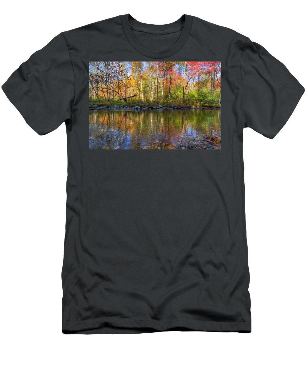 20 Mile Cascade Men's T-Shirt (Athletic Fit) featuring the photograph Autumn Stream by Debra and Dave Vanderlaan