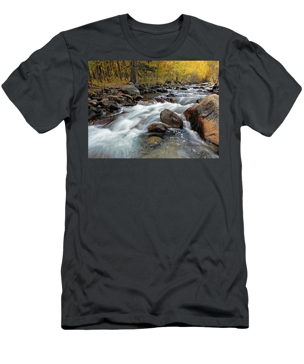 River Men's T-Shirt (Athletic Fit) featuring the photograph Autumn View by Dave Mills