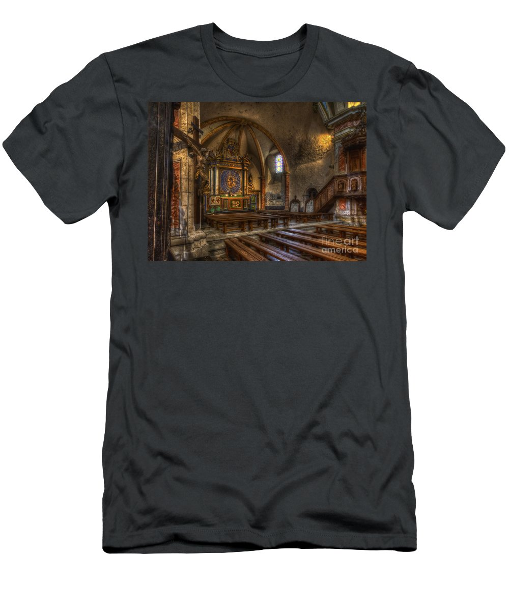 Clare Bambers Men's T-Shirt (Athletic Fit) featuring the photograph Baroque Church In Savoire France 2 by Clare Bambers