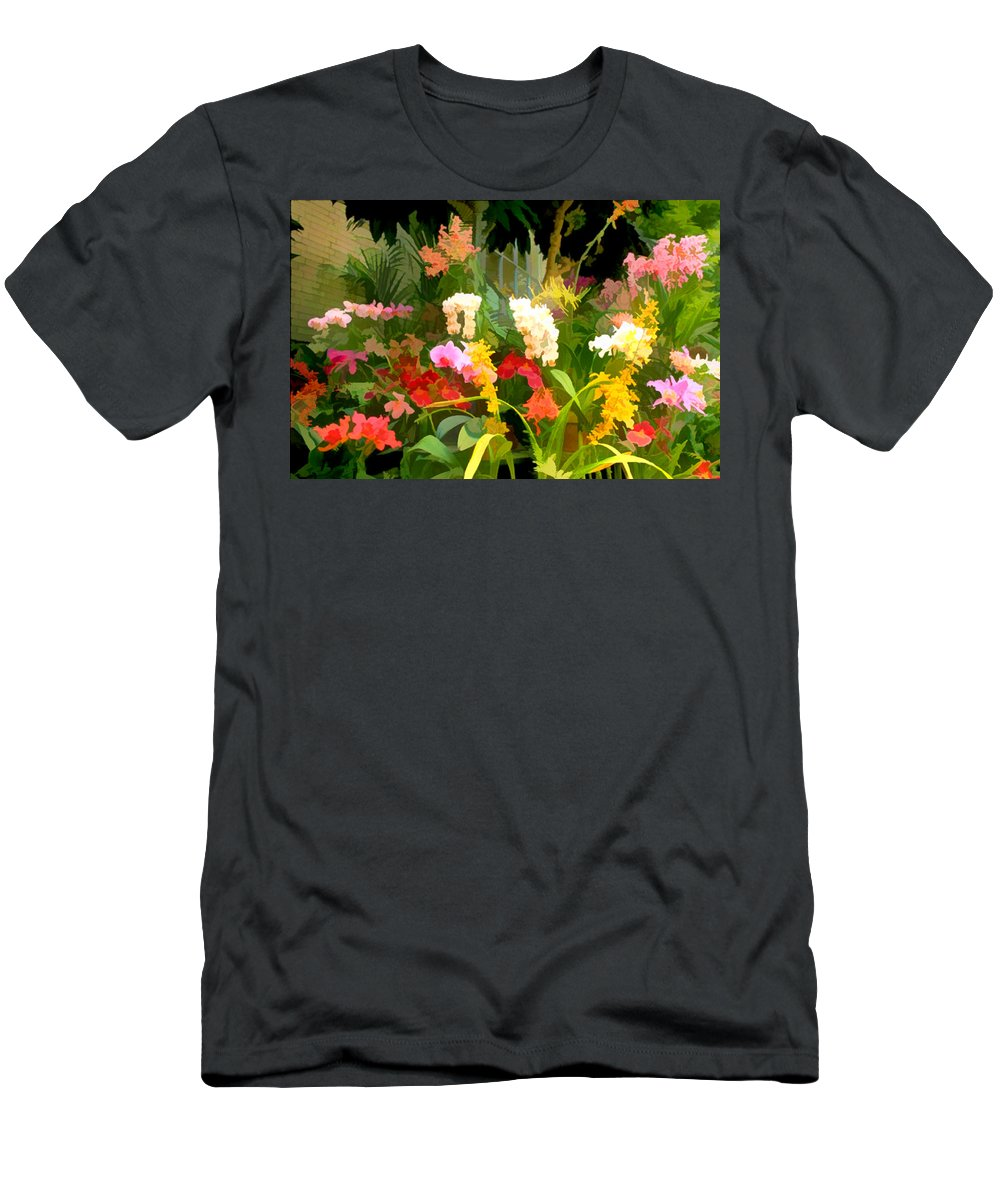 Flower Flowers Garden Orchids Orchid Tropical Flora Floral Nature Natural Men's T-Shirt (Athletic Fit) featuring the painting Bed Of Orchids by Elaine Plesser