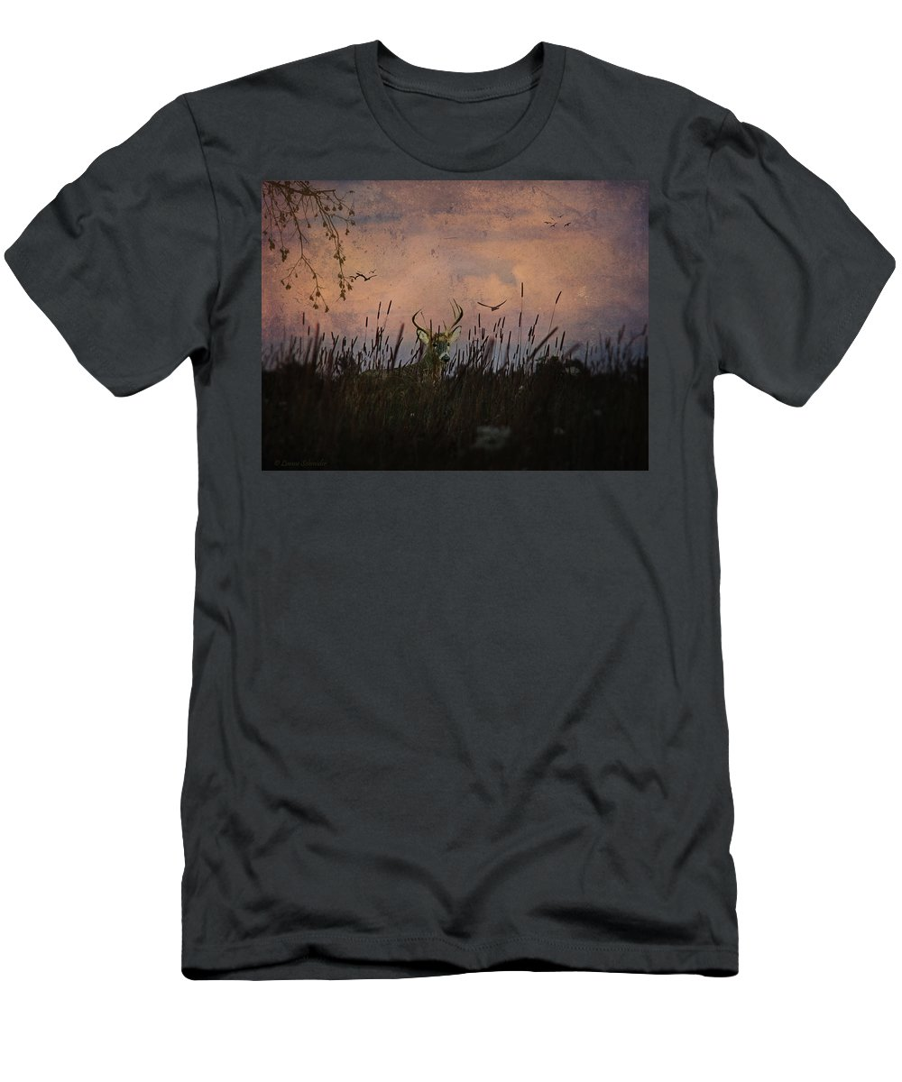 Deer Men's T-Shirt (Athletic Fit) featuring the photograph Bedding Down For Evening by Lianne Schneider