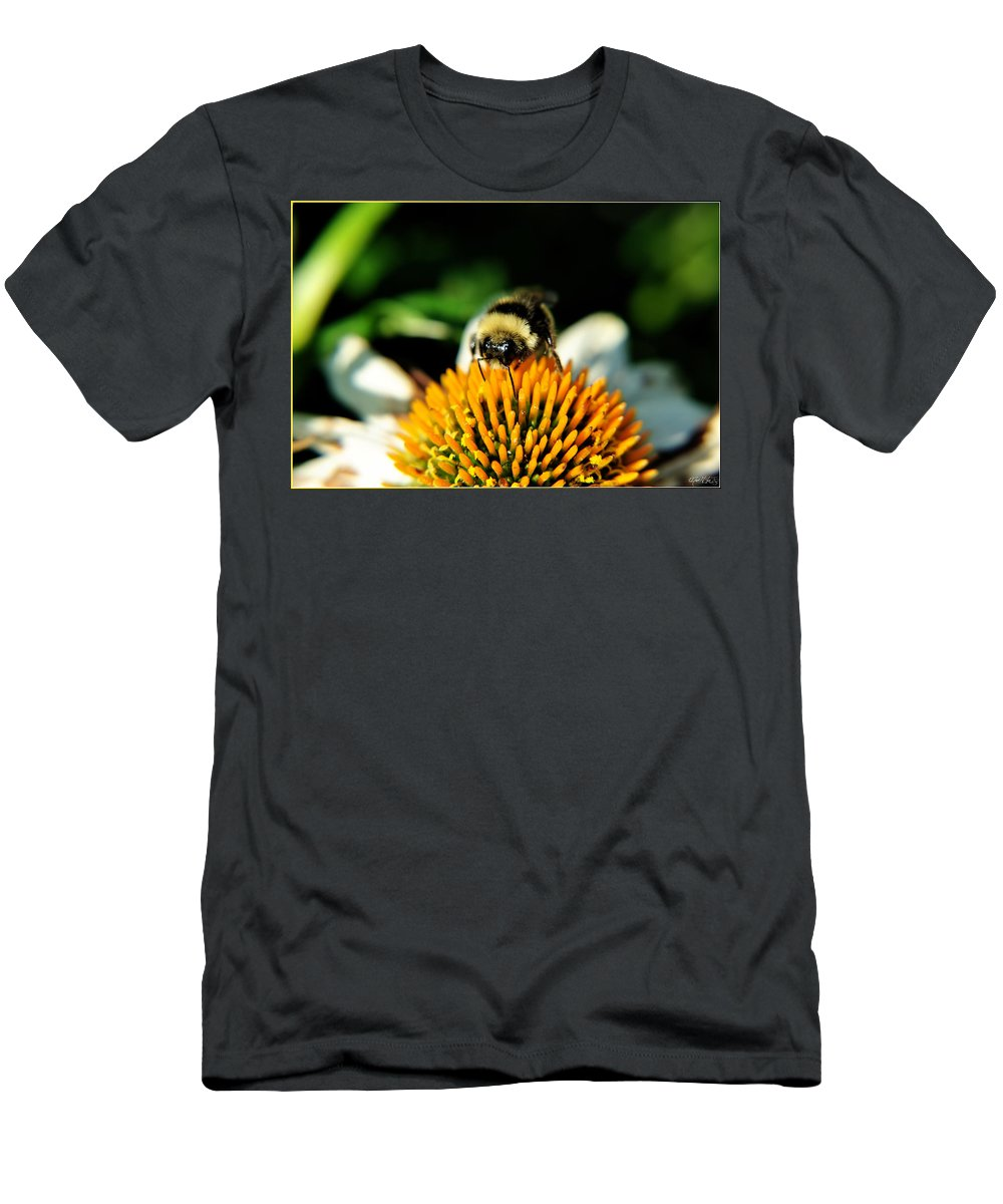 Men's T-Shirt (Athletic Fit) featuring the photograph Beeing Healthy With Echinacea Pow Wow by Michael Frank Jr