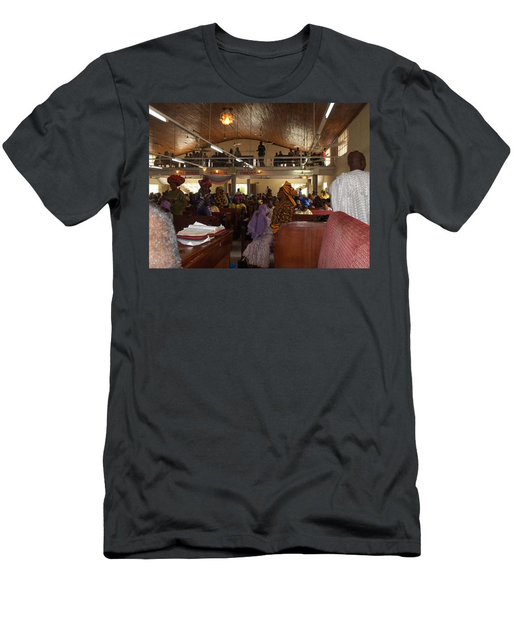 Church Men's T-Shirt (Athletic Fit) featuring the photograph Big Nigerian Church In Lagos by Amy Hosp