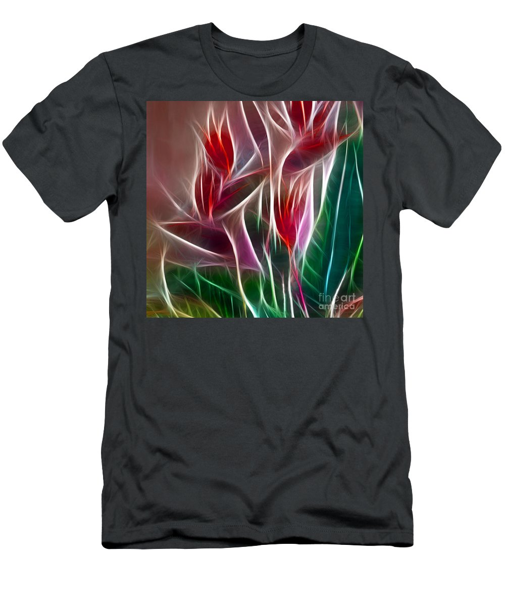 Bird Of Paradise Men's T-Shirt (Athletic Fit) featuring the digital art Bird Of Paradise Fractal Panel 2 by Peter Piatt