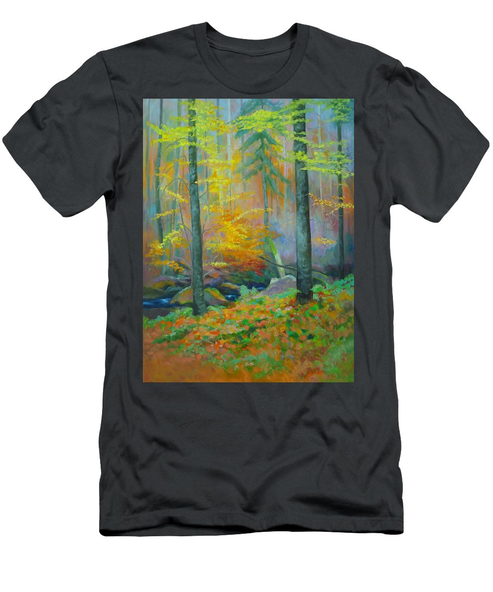 Forest Men's T-Shirt (Athletic Fit) featuring the painting Black Forest Stream by Dai Wynn