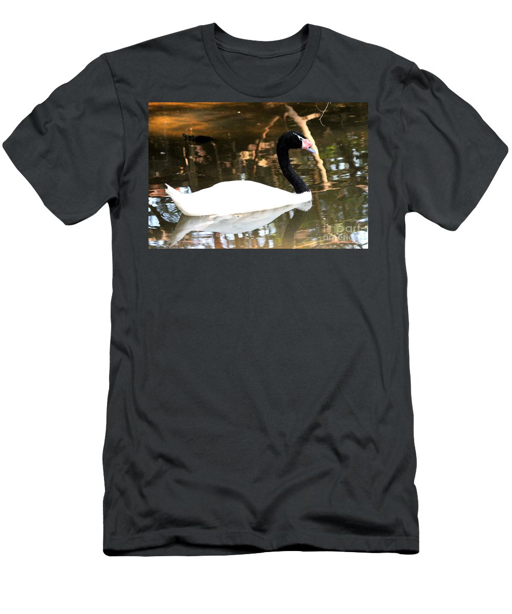 Black Neck Swan Men's T-Shirt (Athletic Fit) featuring the photograph Black Neck Swan by Kathy White
