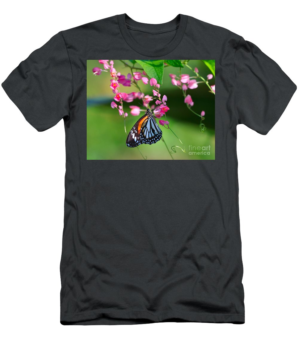 Pretty Men's T-Shirt (Athletic Fit) featuring the photograph Black Veined Tiger Butterfly by Louise Heusinkveld