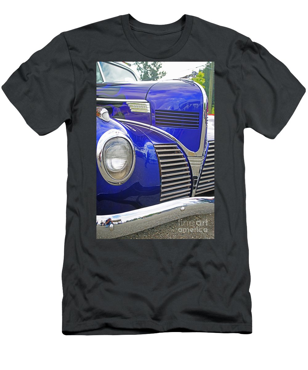 Custom Cars Men's T-Shirt (Athletic Fit) featuring the photograph Blue And Chrome Nose by Randy Harris