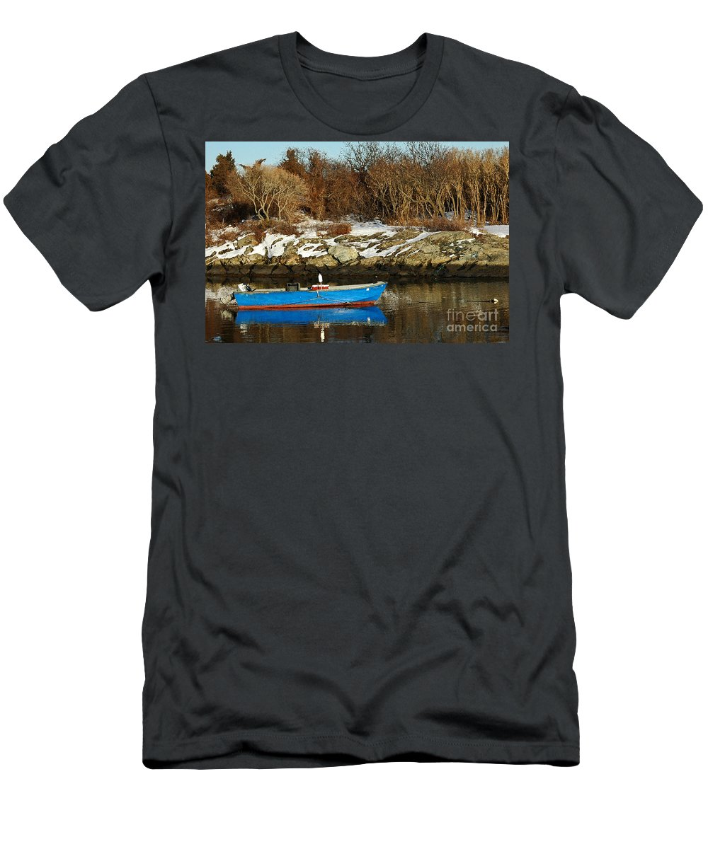 Boat Men's T-Shirt (Athletic Fit) featuring the photograph Blue And Red Boat by Mike Nellums