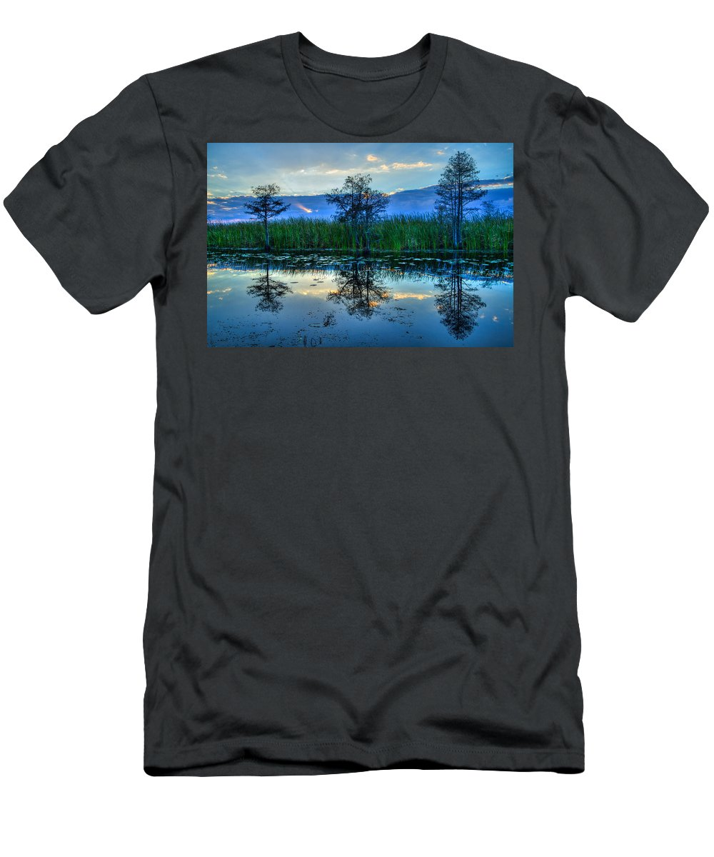 Clouds Men's T-Shirt (Athletic Fit) featuring the photograph Blue Sunset by Debra and Dave Vanderlaan