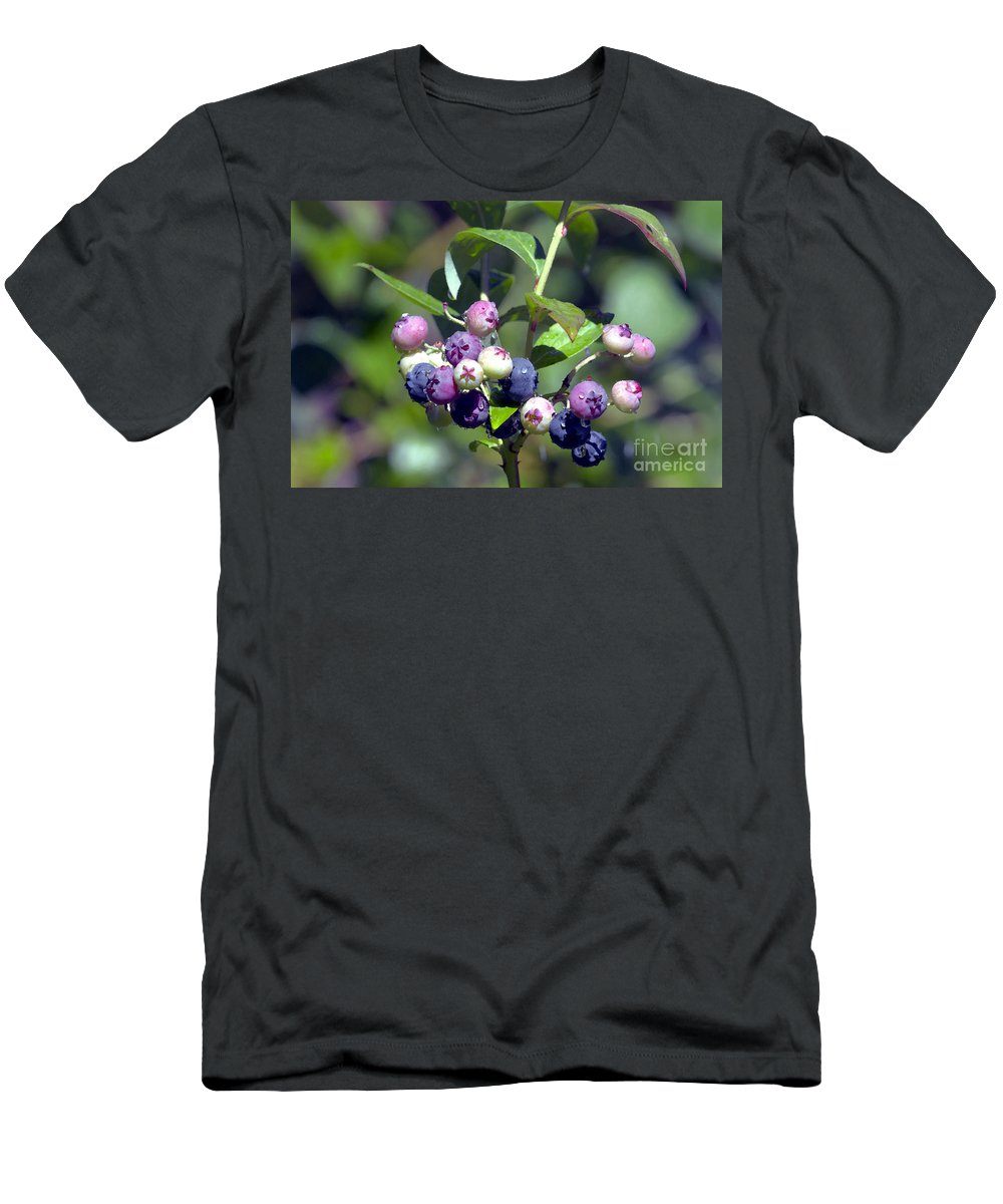 Blueberry Men's T-Shirt (Athletic Fit) featuring the photograph Blueberry Bunch With Raindrops by Sharon Talson